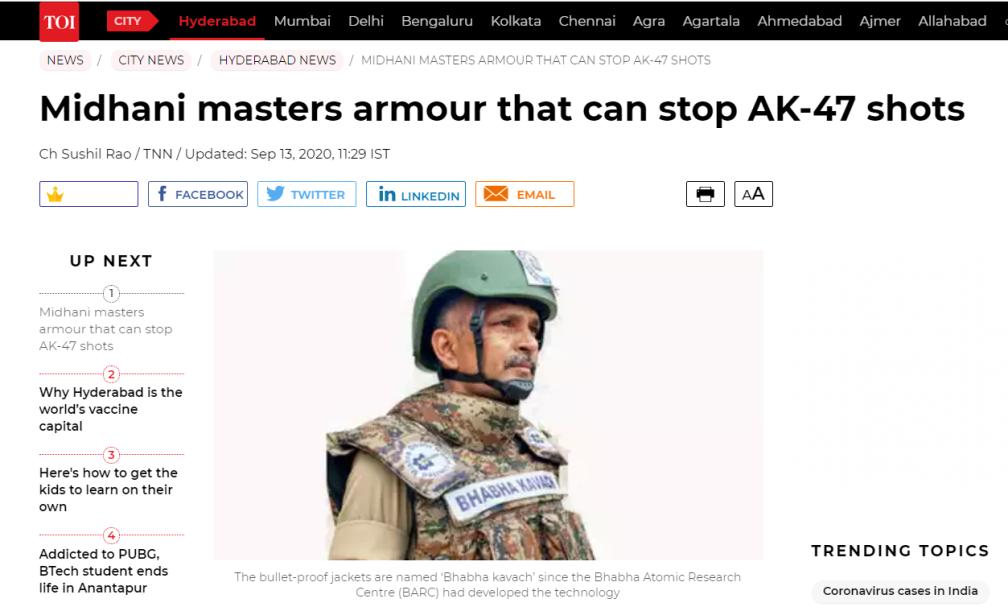 印度开造防弹军车和背心
